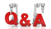 Industrial robotic arms building Q&A word — Stock Photo