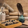 Still Life in a warehouse with  abacus — Stockfoto