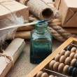 Still Life in a warehouse with abacus — Stock Photo