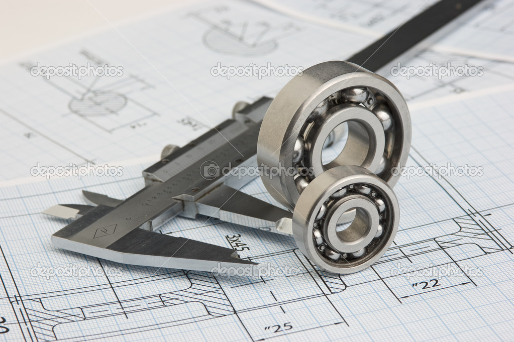 Tools and mechanisms detail on the background of technical drawings — Stock Photo #7171868