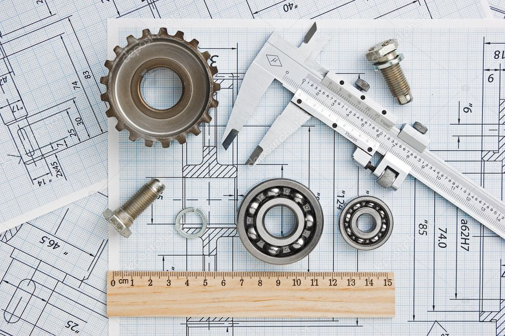 Tools and mechanisms detail on the background of technical drawings  Stock Photo #7171879