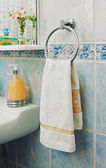 Towel on the rack — Stock Photo