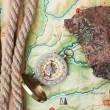 Compass with a rope — Stock Photo