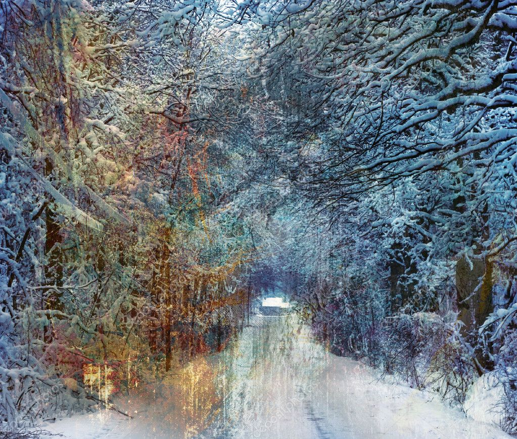 Winter road through the forest, painted texture added — Stock Photo #6753961