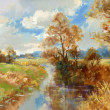 Fall landscape painting — 图库照片