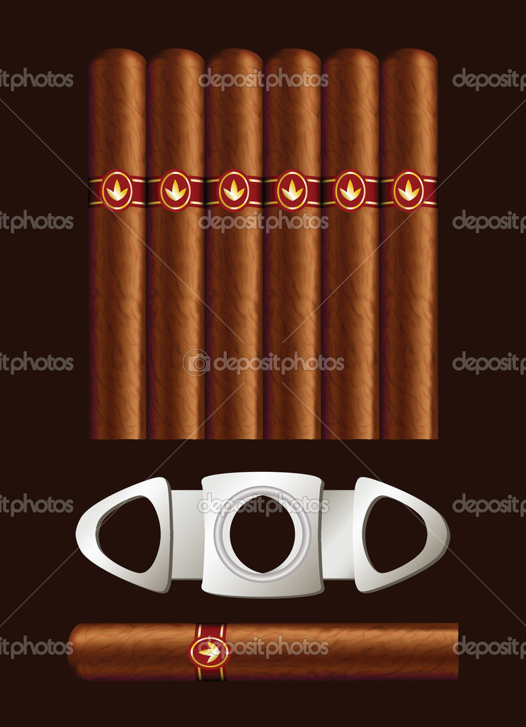 Cigars and guillotine. Vector illustration on black background. — Stock Vector #7096861