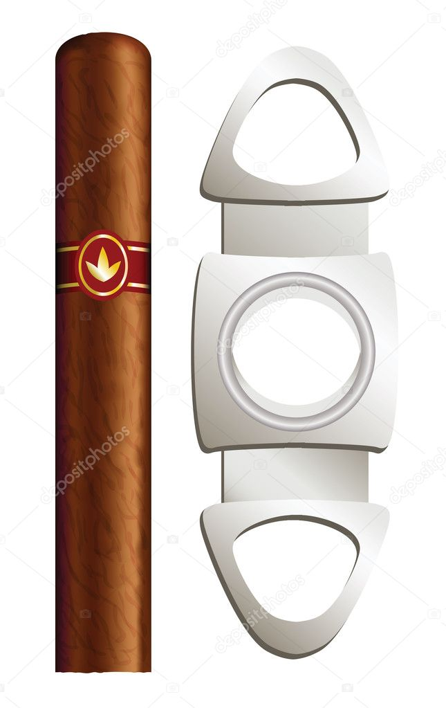Cigar and guillotine. Vector illustration on white background.  Imagens vectoriais em stock #7096870