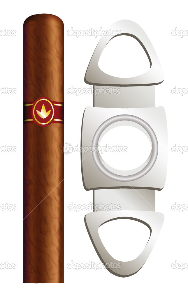 Cigar and guillotine. Vector illustration on white background. — Stok Vektör #7096870