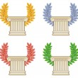 Gold, silver, bronze and green laurel wreath with a Greek column — Stock Vector