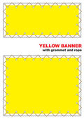 Yellow banner with grommet and rope. — Stock Vector