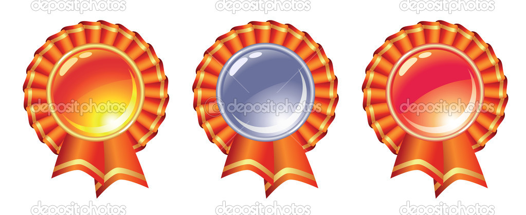 Gold, silver and bronze glossy medals with ribbons. Vector illustration.  Stock Vector #7694773