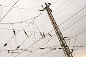 Overhead contact wiring — Foto Stock