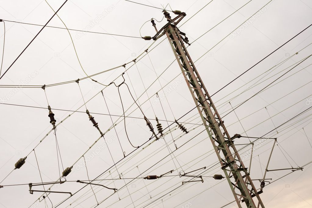 Network of overhead contact wires of electrified railway tracks. — Stock Photo #6762857