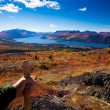 Hiker in fall-colored tundra — Stock Photo