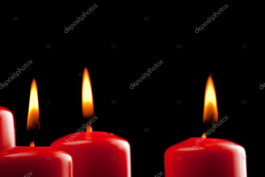 Four red candles over black — Stock Photo #7957596