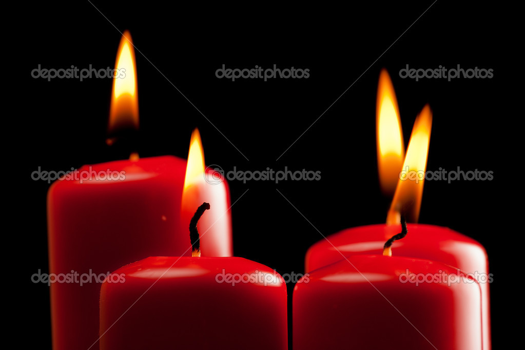 Four red candles over black — Stock Photo #7957611