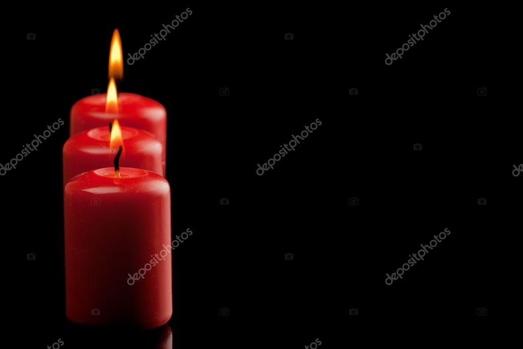 Three red candles — Stock Photo #7957628