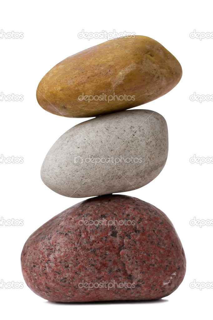 Balancing of pebbles. Isolated on White — Stock Photo #7352891