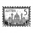 Vector illustration of stamp or postmark of Austria — Foto Stock