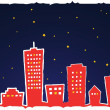 Vector illustration of stylized city at night - Stock Photo