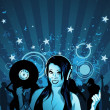 Stock Photo: Girl DJ Wallpaper