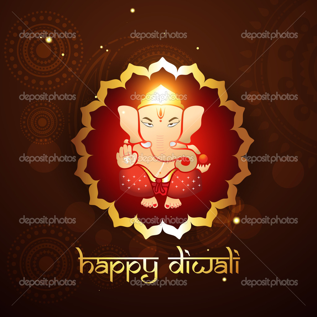 Hindu lord ganesh illustraton — Stock Vector #7153447
