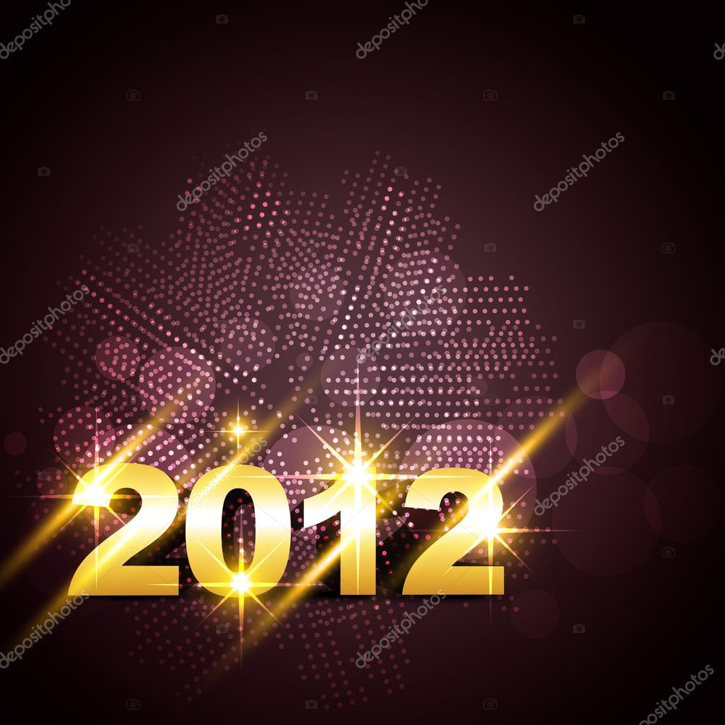 Vector golden happy new year design  Stock Vector #7640724