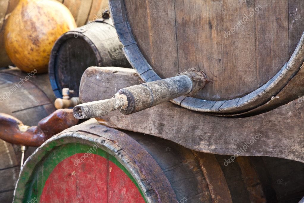 Italy - old tap on a barrel of Barbera wine, Piedmont region — Stock Photo #6839403
