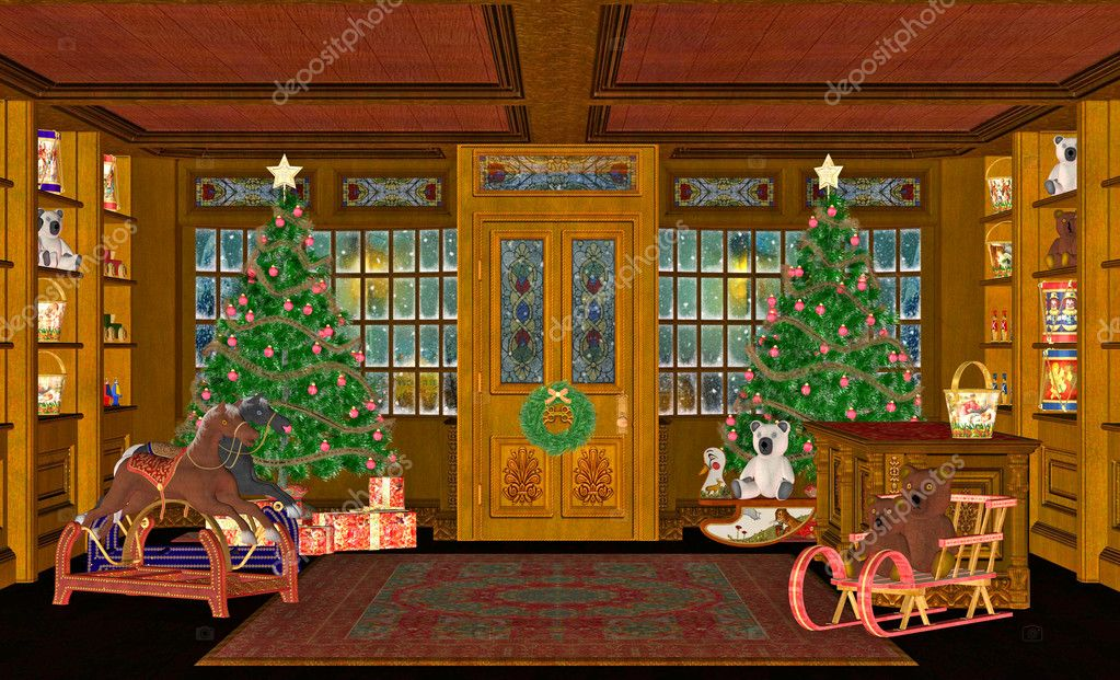 Illustration of a Christmas scene with trees, presents or gifts and sleighs.  — Stock Photo #6824679