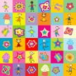 Stock Photo: Pattern with toys and kids for kindergarten