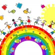 Doodle kids playing on a rainbow — Stock Photo