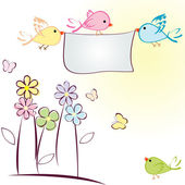 Greeting card with birds, flowers and butterflies — Stock Photo
