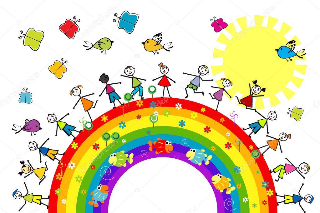 Doodle ni os jugando en un arco iris foto stock - Dibujos infantiles de ninos jugando ...