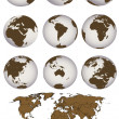 Stock Photo: World map and Earth globes