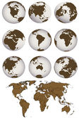 World map and Earth globes — Zdjęcie stockowe