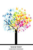 Stylized tree with colored butterflies — ストック写真