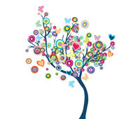 Colored happy tree with flowers and butterflies — Stock Photo