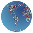 Stock Photo: Globalisation, Earth globe with made of flags of worl