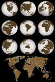 Map with Earth globes — Zdjęcie stockowe