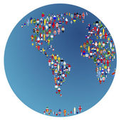Globalisation, Earth globe with made of flags of the worl — Stock Photo