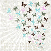 Grunge retro background with butterflies — Foto Stock