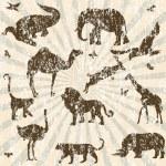 Retro grunge background with animals silhouettes — Stock Photo #7395237