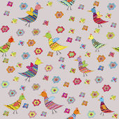 Seamless pattern with birds and flowers, for kids — Stock Photo