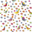 Seamless pattern with birds and flowers, cute background for kid — Stock Photo