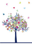 Abstract colored tree with hearts, circles and butterflies — Stock Photo