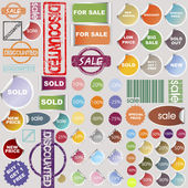 Sale stickers, rubber stamps and label collection — Stock Photo
