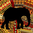 Elephant silhouette on ethnic textures background — Stock Photo