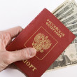Russian Traveling Passport and money in hand. — Stock Photo