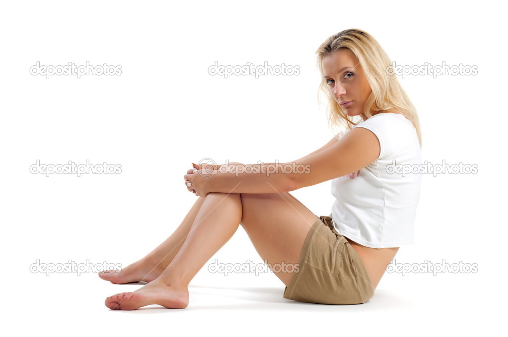 Beautiful sexual girl blonde on white background — Stock Photo #6935367