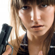 Stock Photo: Beautiful girl with gun